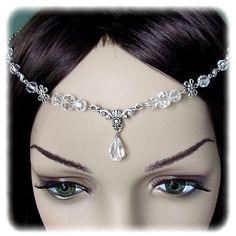 Floral Crystal Renaissance Medieval Circlet Headpiece Headdress Wedding Bridal Prom Head Piece Hair Accessory