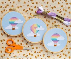 This is a Hot Air Balloon Series Counted Cross Stitch PATTERN only - no fabric or floss is included in this purchase. The pattern includes 3 different colour and pattern schemes for the same balloon design... stitch them as they are or add miniature buttons and ribbon bows to make