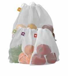 Produce Bags, Set of 5. Reusable Produce Bags Go From Market to Refrigerator    Lightweight polyester mesh bags. Set of 5 for $11.49