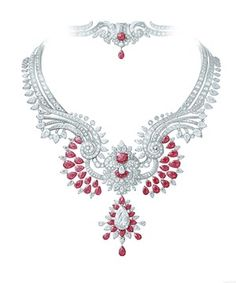 Van Cleef & Arpels Pierres de Caractère Oriental Princess necklace and detachable clip in white gold with round, pear-shaped and baguette-cut diamonds, Mozambican rubies and one pear-shaped D FL type 2A diamond of 8.07ct.