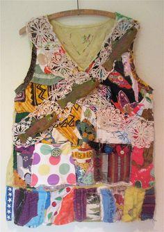 LINEN FISH Fabric COLLAGE Clothing  - Organic Flax Cotton - Wearable Art - Applique Embroidery Summer Shirt Top// mybonny  random scraps