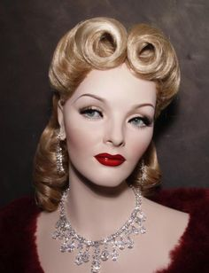 Vintage Hairstyles Laura Madera saved to Mannequins and Glamour Mannequin with Victory rolls Vintage Mannequin, Dress Form Mannequin, Mannequin Heads, Pierre Balmain, 1940s Fashion, Vintage Fashion, Store Mannequins, Roll Hairstyle, 1940s Hairstyles