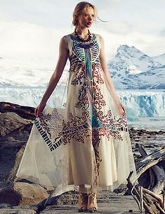 #ANTHROPOLOGIE Embroidered Glacia Gown