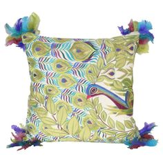 Peacock-themed pillow with corner feather accents.  Product: PillowConstruction Material: Fabric and feathers