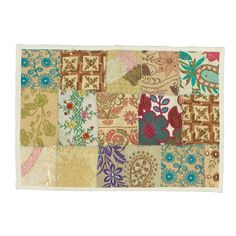 Timbuktu Hand Crafted White Cotton and Poly Recyled Sari Placemats (Set of 4)