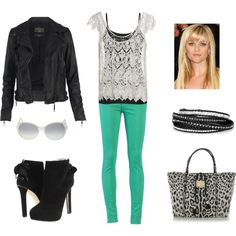 I love the colored pants. Leather and lace