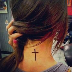 Cute Cross Tattoo Design for Women on Neck | Cool Tattoo Designs