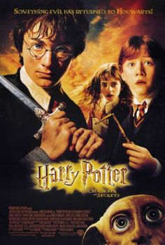 "27x40 Inch Harry Potter and the Chamber of Secrets Movie Poster featuring Harry Potter holding the Sword of Gryffindor, Hermione Granger, Ron Weasley, and Dobby the House Elf with the caption ""SOMETHING EVIL HAS RETURNED TO HOGWARTS!"" Get it now at http://harrypottermovieposters.com/product/harry-potter-and-the-chamber-of-secrets-movie-poster-style-a-27x40-inch/"