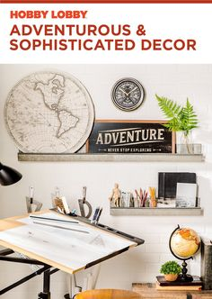 So many fun wall decor pieces for this artist's nook! Cool Wall Decor, Diy Wall Art, Modern Industrial Decor, Bedroom Ideas, Bedroom Decor, Do It Yourself Decorating, Mirror Wall Art, Room Themes, Cool Walls