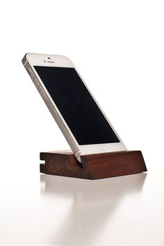 iphone and ipad dock repurposed into a Selfie Stand. Designed and made by SML on Ipe wood. Available now on our Etsy site!