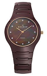 Skagen Ceramic Bracelet Brown Dial Womens watch 816XSDXC1, Polished rose gold tone sword hands and also sweep seconds, Genuine Swarovski cry...