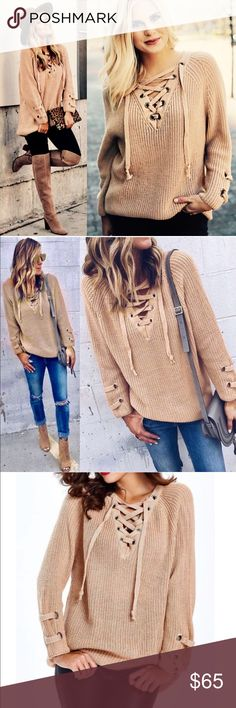🚨1HR SALE🚨ALIA sweater tunic top DEEP BEIGE solid sweater tunic with criss cross self-tying strap. THIS LISTING IS for BEIGE.  🚨🚨PLS NOTE SLEEVE LENGTH WILL VARY DEPENDING ON EACH PERSONS HEIGHT & ARM LENGTH🚨🚨 slightly Oversized, slouchy   55% Cotton 45% Acrylic   AVAILABLE IN OLIVE & MARSALA.   🚨NO TRADE🚨   🚨PRICE FIRM🚨 Bellanblue Sweaters