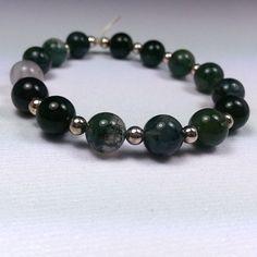 SS Stretch Moss Agate Bracelet - Reiki Charged, Moss Agate Bracelet, Green Stone Bracelet, Green Gemstone Bracelet, Meditation Bracelet #etsy #handcraftedjewelry