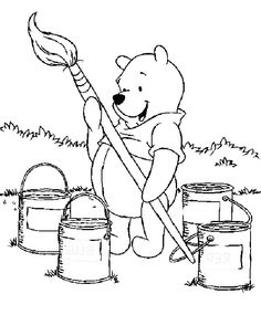Winnie The Pooh Wants To Paint Coloring Pages