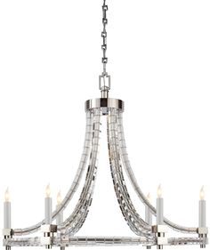 "Height: 25 1/4"" Width: 30"" Canopy: 5 3/4"" SquarROUND FLATLINE CRYSTAL CUBE CHANDELIER"