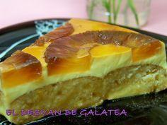 Tarta de piña (sin horno) con gelatina de limon Food N, Food And Drink, Flan, Churros, Sin Gluten, Vegan Desserts, No Bake Cake, Sweet Tooth, Cooking Recipes
