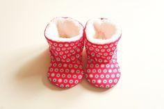 Chaussons bottes bébé fille automne-hiver, coton imprimé rose fuchsia : Mode Bébé par hazaliwa