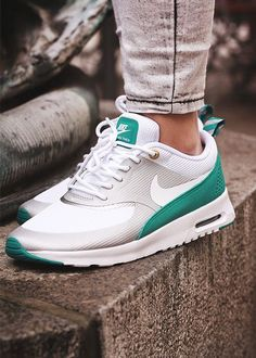 outlet store b1db4 3efc8 Nike Air Max Thea Silver White Green Shoes   Trainers Sale at Cheap Prices.