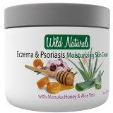 100% Natural Psoriasis Treatment Moisturizer Skin Cream By Wild Naturals - With Manuka Honey and Aloe Vera - For Psoriasis, Eczema, Dermatitis, Acne & Rosacea - Very Light, Non-greasy, Absorbs Quickly - All the Nutrients Your Skin Needs - Fo