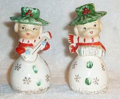 Vintage Christmas Poinsettia Snowflake Girls Salt and Pepper Shakers XMAS