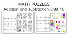 Math puzzles - addition and subtraction until 10 #dyscalculia