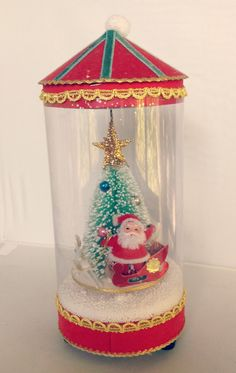Vintage Santa Waterless Snow Globe Music Box by junkindatrunkgirls
