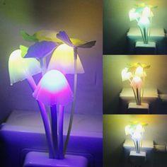 ITimo Color Changing Led Wall Night Lights Mushroom Plants Style Sensor Lamp for Kids Sleeping