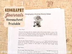 """Strangers & Pilgrims on Earth: Geography Journals ~ Homeschool """"Curriculum"""" ~ Free Printable"""