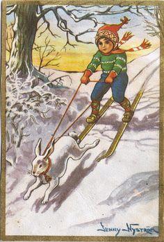Katson ikkunasta: joulukuuta 2013 Scandinavian Style, Vintage Postcards, Vintage Children, Childrens Books, Illustrators, Folk Art, Woodland, Christmas Cards, Finland