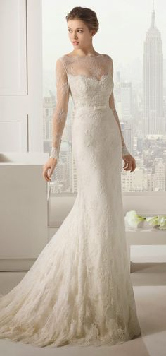 Dear bride-to-be, love lace which give you full of elegant and sweetness? And take a look at this full lace with tulle wedding gown.  More lace wedding gowns: http://www.dolce2dolce.com/search?q=lace  Orginal design from Rosa Clara 2015 Bridal Collection