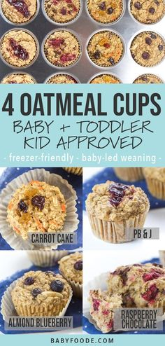 These allergy-friendly Baked Oatmeal Cups are about to make your crazy mornings a whole lot easier (and more delicious)! Plus they are baby, Toddler and Kid-Approved! They are made with wholesome ingredients such as oats, bananas, coconut oil and maple syrup and can be made refined sugar-free, dairy-free, soy-free, nut-free and gluten-free! #toddler #baby #kid #breakfast #healthy Healthy Toddler Meals, Kids Meals, Toddler Food, Easy Meals, Kid Breakfast, Breakfast Healthy, Breakfast Recipes, Healthy Eating, Nut Free