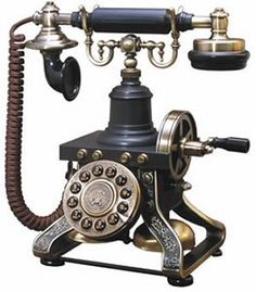 "You used to have to crank this one to get the operator on the line so that she could connect you to a live circuit, enabling you to place your call.  ""Is this the party to whom I am speaking?"""