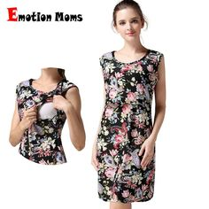 1c53437d56 Emotion Moms Sleeveless Maternity clothing Nursing Breastfeeding dress  pregnancy Clothes for Pregnant Women Maternity dress