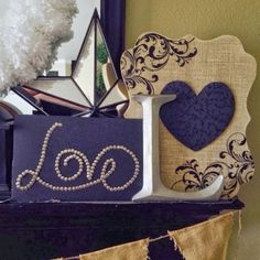 LOVE written cool with thumb tacks-scrolled print with heart