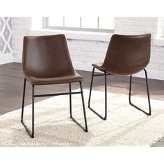 Set of 2 Urban Brown and Black Dining Room Chairs - Centiar