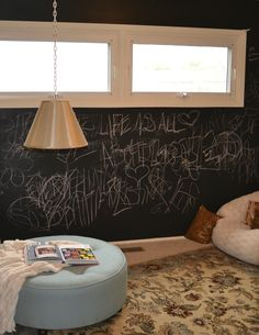 meditation / chill room  - love the idea of a chalkboard wall and love the rug!