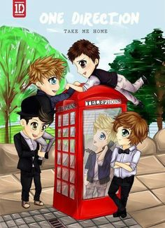 AHH One Direction cartooned cover of Take Me Home! I just wish Harry's hair was curly in this pic.....
