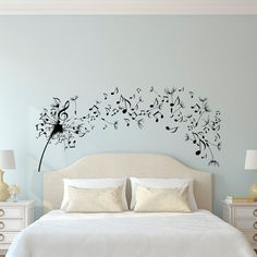 Dandelion Wall Decal Bedroom- Music Note Wall Decal Dandelion Wall Art Flower Decals Bedroom Living Room Home Decor Interior Design Approximate Item Sizes: 10 Tall x 22 Wide 14 Tall x 31 Wide 22 Tall x 48 Wide 28 Tall x 61 Wide Dont see the size you need? Send us a message for your custom needs and we will create a listing just for you. Picture may not reflect true size. Choosing from the color chart above, please leave your choice of color in the message box when purchasing. If a color i...