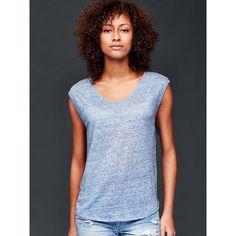 Gap Women Linen Cap Sleeve Tee ($30) ❤ liked on Polyvore featuring tops, t-shirts, blue heather, regular, linen tops, scoop-neck tees, gap tees, blue t shirt and heather t shirt