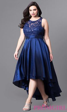 Shop high-low plus-size prom dresses at PromGirl. Scoop-neck sleeveless lace bodice dresses in plus sizes with sequins and satin high-low skirts. Plus Size Homecoming Dresses, Plus Size Wedding Guest Dresses, Plus Size Formal Dresses, High Low Prom Dresses, Trendy Dresses, Nice Dresses, Dress Formal, Formal Prom, High Low Chiffon Dress