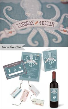 These octopus themed invitations and stationery items are a perfect match for this wedding set in an aquarium!    Stationery:  Creme Fraiche Design