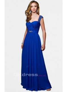 Sheath Floor-length Shoulder Straps Royal Blue Straps Evening Dresses
