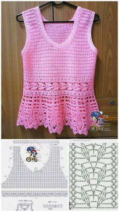 Crotchet Dress, Crochet Blouse, Crochet Top, Crochet Stitches Patterns, Stitch Patterns, Crochet Key Cover, Pink Love, Sewing Tutorials, Women Wear
