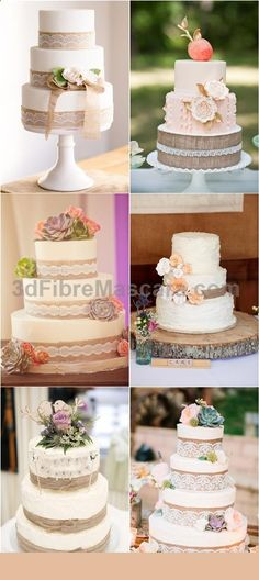 Rustic Country Burlap Wedding Cakes / www.deerpearlflow... #weddings #wedding #marriage #weddingdress #weddinggown #ballgowns #ladies #woman #women #beautifuldress #newlyweds #proposal #shopping #engagement