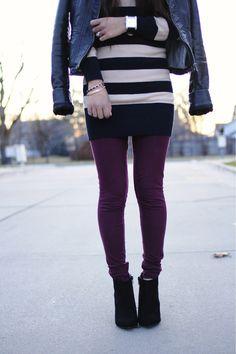 maroon leggings + stripes