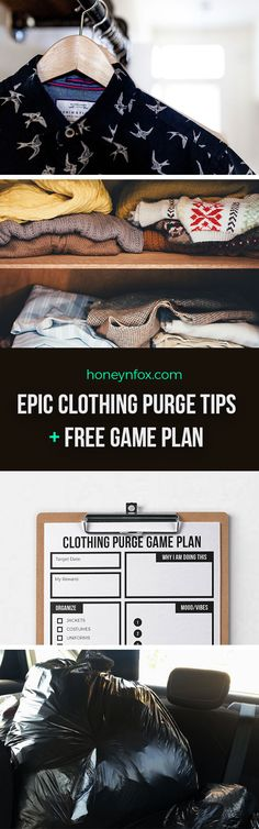 Epic clothing purge tips to transform your adult wardrobe into something worthwhile. Stay on top of your clothes organization with the free printable clothing purge game plan.