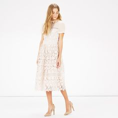 Warehouse, LACE SHIRT DRESS Cream 2