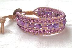 Lavender Jasper Leather Wrap Bracelet by neferknots on Etsy, $85.00