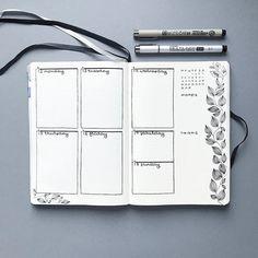 Bullet journal weekly layout, leaf drawing, plant drawing, cursive headers. | @bujoist