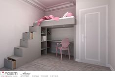 Make room with a loft bed - Trendy Home Decorations Attic Spaces, Tiny Spaces, Small Rooms, Bedroom Loft, Dream Bedroom, Girls Bedroom, Student Bedroom, Desk Areas, House Inside